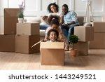 happy small african american... | Shutterstock . vector #1443249521