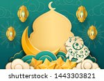 paper mosque and stars  sheep... | Shutterstock . vector #1443303821
