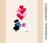 flying birds wedding kissing... | Shutterstock .eps vector #1443330014