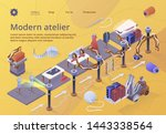 modern textile factory. row of... | Shutterstock .eps vector #1443338564