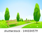 city park with trees  flowers ... | Shutterstock .eps vector #144334579
