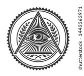 vector occult all seeing eye... | Shutterstock . vector #1443363971