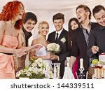 group people at wedding table... | Shutterstock . vector #144339511
