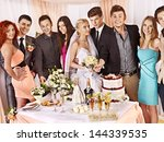group people at wedding table... | Shutterstock . vector #144339535