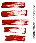 set of red brush strokes | Shutterstock . vector #144340051