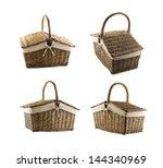 Picnic basket hamper isolated over white background, set of four foreshortenings - stock photo