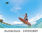 kite surfing  fun in the ocean  ... | Shutterstock . vector #144341869