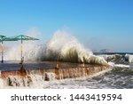 Mid Autumn. Waves Runs On An...