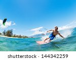 kite surfing  fun in the ocean  ... | Shutterstock . vector #144342259