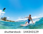 kite surfing  fun in the ocean  ... | Shutterstock . vector #144343129