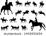 horse riding silhouettes... | Shutterstock .eps vector #1443452654