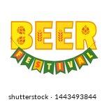 beer fest hand drawn flat color ...   Shutterstock .eps vector #1443493844