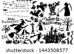 happy halloween. a set of... | Shutterstock . vector #1443508577