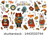 forest animals celebrate new... | Shutterstock . vector #1443533744