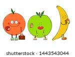 cute happy cartoon fruits...   Shutterstock .eps vector #1443543044