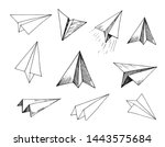 set of paper planes. hand drawn ... | Shutterstock .eps vector #1443575684