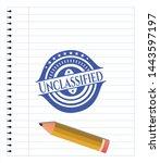 Unclassified blue ink pen emblem. Vector Illustration. Detailed.