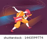 guitar hero plays his amazing... | Shutterstock .eps vector #1443599774