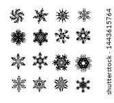 black snowflakes silhouettes.... | Shutterstock .eps vector #1443615764