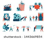 colorful icons set with people...   Shutterstock .eps vector #1443669854