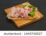 raw fresh pork meat cube ready... | Shutterstock . vector #1443743027