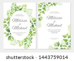 wedding invitation with green... | Shutterstock .eps vector #1443759014