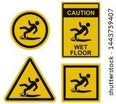 wet floor   warning sign... | Shutterstock .eps vector #1443759407