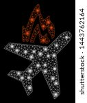 bright mesh airplane fire with... | Shutterstock .eps vector #1443762164