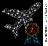 bright mesh airplane... | Shutterstock .eps vector #1443763604