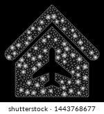 bright mesh aircraft hangar... | Shutterstock .eps vector #1443768677