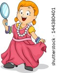 Illustration of a Little Kid Girl Wearing Adult Clothes holding a Handheld Mirror