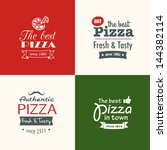 set of premium quality pizza... | Shutterstock .eps vector #144382114