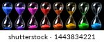 Collection of colorful hourglasses showing the passage of time