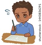 child who sees manuscript sheet ... | Shutterstock . vector #1443836291