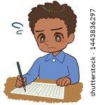 child who sees manuscript sheet ... | Shutterstock . vector #1443836297
