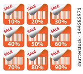 discount orange labels and... | Shutterstock .eps vector #144383971