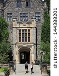 Stock photo entrance to gothic style college building 144388201