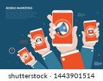 mobile marketing  e commerce ... | Shutterstock .eps vector #1443901514
