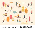 autumn in city park. lovely... | Shutterstock .eps vector #1443906407
