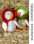 Knitted Duck Toy With Bonnet On ...