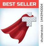 equilateral cross in hero cape. ... | Shutterstock .eps vector #1443943004