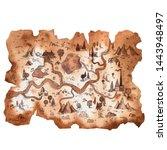 watercolor map illustration.... | Shutterstock . vector #1443948497