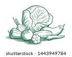 still life with vegetables.... | Shutterstock . vector #1443949784
