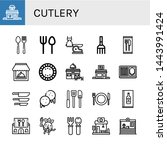 set of cutlery icons such as... | Shutterstock .eps vector #1443991424