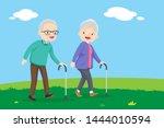 elderly couple walking. old... | Shutterstock .eps vector #1444010594