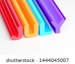 july colorful glossy text 3d... | Shutterstock . vector #1444045007