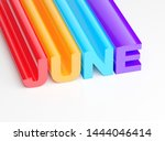 june colorful glossy text 3d... | Shutterstock . vector #1444046414