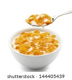 bowl of corn flakes isolated on ... | Shutterstock . vector #144405439