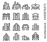 simple city buildings line icons | Shutterstock .eps vector #1444076471