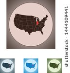 vector map of the indiana | Shutterstock .eps vector #1444109441